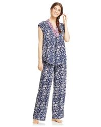 Lucky Brand | Blue Short Sleeve Top And Pajama Pants Set | Lyst