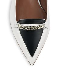 Tabitha Simmons   White Alexa Bicolor Leather Chaintrimmed Flats   Lyst