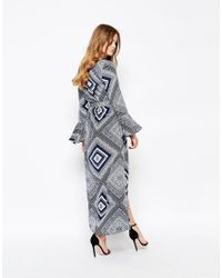 Stone Cold Fox - Blue Sunset Robe Silk Maxi Dress In Alva Print - Lyst