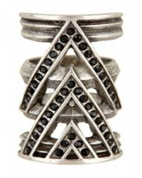 House of Harlow 1960 | Metallic Chevron Ring With Black Pave | Lyst