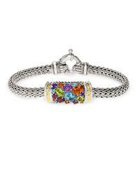 Effy | Multicolor Semi-precious, Multi-stone Sterling Silver And 18k Yellow Gold Barrel Bracelet | Lyst
