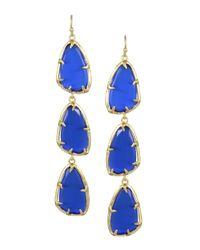 Kendra Scott - Blue Tripledrop Cats Eye Earrings Cobalt - Lyst