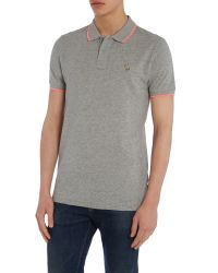 Paul Smith - Gray Slim Fit Tipped Zebra Logo Polo Shirt for Men - Lyst