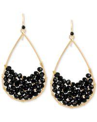 Kenneth Cole | Metallic Gold-tone Black Stone Teardrop Earrings | Lyst