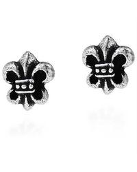 Aeravida | Black Petite Saint Fleur De Lis Saints .925 Silver Stud Earrings | Lyst
