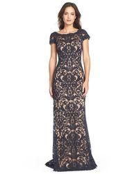 Tadashi Shoji | Blue Lace Column Gown | Lyst