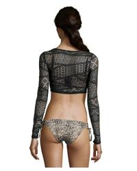 Vitamin A | Black Crocheted 'Cannes' Cropped Rashguard | Lyst