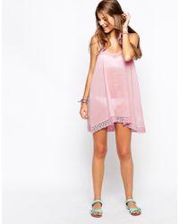 ASOS - Black Daisy Crochet Trim Beach Dress - Lyst