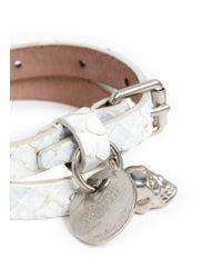 Alexander McQueen - White Double Wrap Skull Charm Painted Snakeskin Bracelet - Lyst