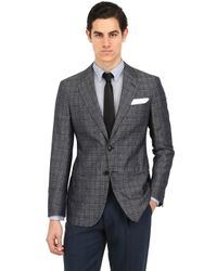 Giorgio Armani | Gray Silk Cotton Blend Checked Jacket for Men | Lyst