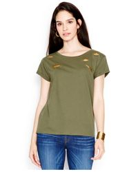 Guess - Green Distressed Embellished Tee - Lyst