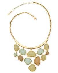 T Tahari - Metallic Beach Stone Frontal Necklace - Lyst
