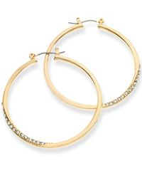 Guess | Metallic Gold-tone Crystal Pavé Hoop Earrings | Lyst