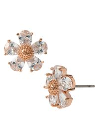 Betsey Johnson | Pink Rose Goldtone And Glitz Flower Earrings | Lyst