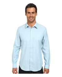 Calvin Klein - Blue Liquid Cotton Chambray Faint Stripe Woven Shirt for Men - Lyst