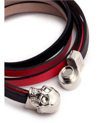 Alexander McQueen | Red Triple Strap Skull Leather Bracelet | Lyst