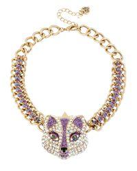 Betsey Johnson - Purple Rhinestone Accented Fox Princess Necklace - Lyst