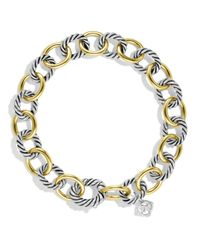 David Yurman | Metallic Oval Link Bracelet With Gold | Lyst