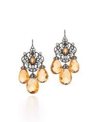 Fred Leighton | Metallic Citrine & Diamond Chandelier Earrings | Lyst