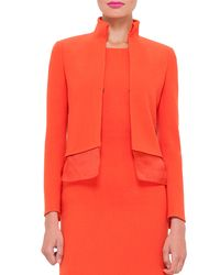Akris - Red Long-sleeve Wool-crepe Mock-neck Jacket - Lyst