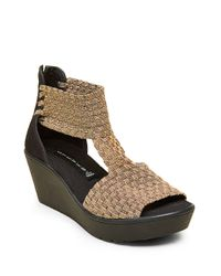 Steven by Steve Madden | Metallic Bengle Wedge Sandals | Lyst