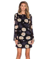94222530 Lyst - Ganni Floral Long Sleeve Shift Dress