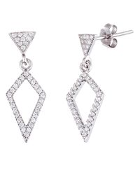 Lord & Taylor | Metallic Clear Sterling Silver Diamond Drop Earrings | Lyst