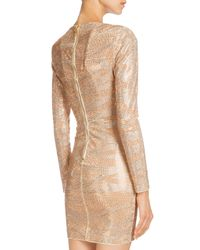 Balmain - Natural Crystal Tiger-striped Long-sleeve Dress - Lyst