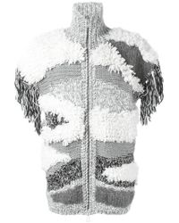 Belstaff - Gray Chunky Knit Cardigan - Lyst