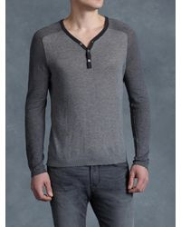 John Varvatos - Gray Cotton Color Blocked Henley for Men - Lyst