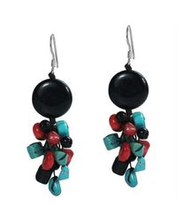 Aeravida | Cute Multi-stone Black .925 Silver Cluster Earrings | Lyst