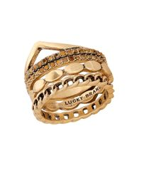 Lucky Brand | Metallic Pave Dream Goldtone Stack Ring | Lyst