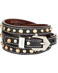 Givenchy - Black Studded Wrap Bracelet - Lyst