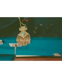 Cleobella - Metallic Gold Fringe Pendant Necklace - Lyst