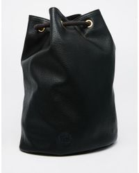 Mi-Pac   Black Drawstring Backpack In Leather Look Fabric   Lyst