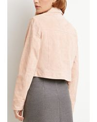 Forever 21 | Natural Genuine Suede Open-front Jacket | Lyst