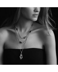David Yurman - Cable Wrap Pendant with Blue Topaz and Diamonds in Gold - Lyst