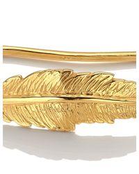 Leivan Kash | Metallic 22-Karat Gold-Plated Feather Hand Cuff | Lyst
