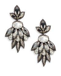 Deepa Gurnani | Metallic Austrian Crystal & Suede Fan Drop Earrings | Lyst