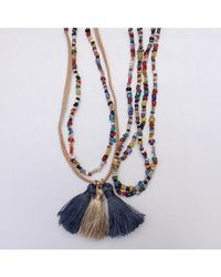 Botticelli's Niece - Multicolor Long Beaded Burmese Tassel Necklace - Lyst