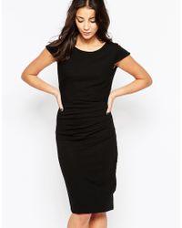 Ichi - Black Capped Sleeve Pencil Dress - Lyst