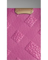 Burberry | Purple Medium Embossed Check Leather Tote Bag | Lyst