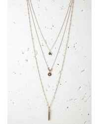 Forever 21 - Metallic Tasseled Longline Necklace Set - Lyst