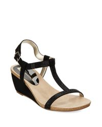 Anne Klein | Black Jovial T-Strap Wedge Sandals | Lyst