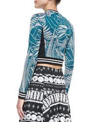 Veronica Beard - Blue Mixed-print Zipper Crop Top - Lyst
