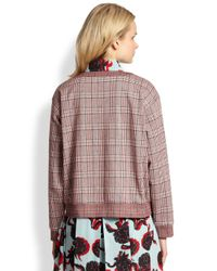 See By Chloé Red Cotton Knit Plaid Sweatshirt