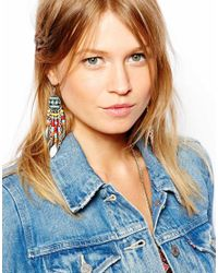 ASOS - Multicolor Western Bead Leaf Earrings - Lyst