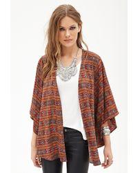 Forever 21 - Orange Contemporary Southwestern Print Kimono - Lyst