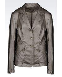 Armani - Metallic Jacket In Coated Ramie - Lyst
