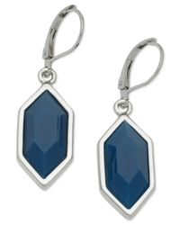 T Tahari | Blue Silver-tone Hexagonal Drop Earrings | Lyst